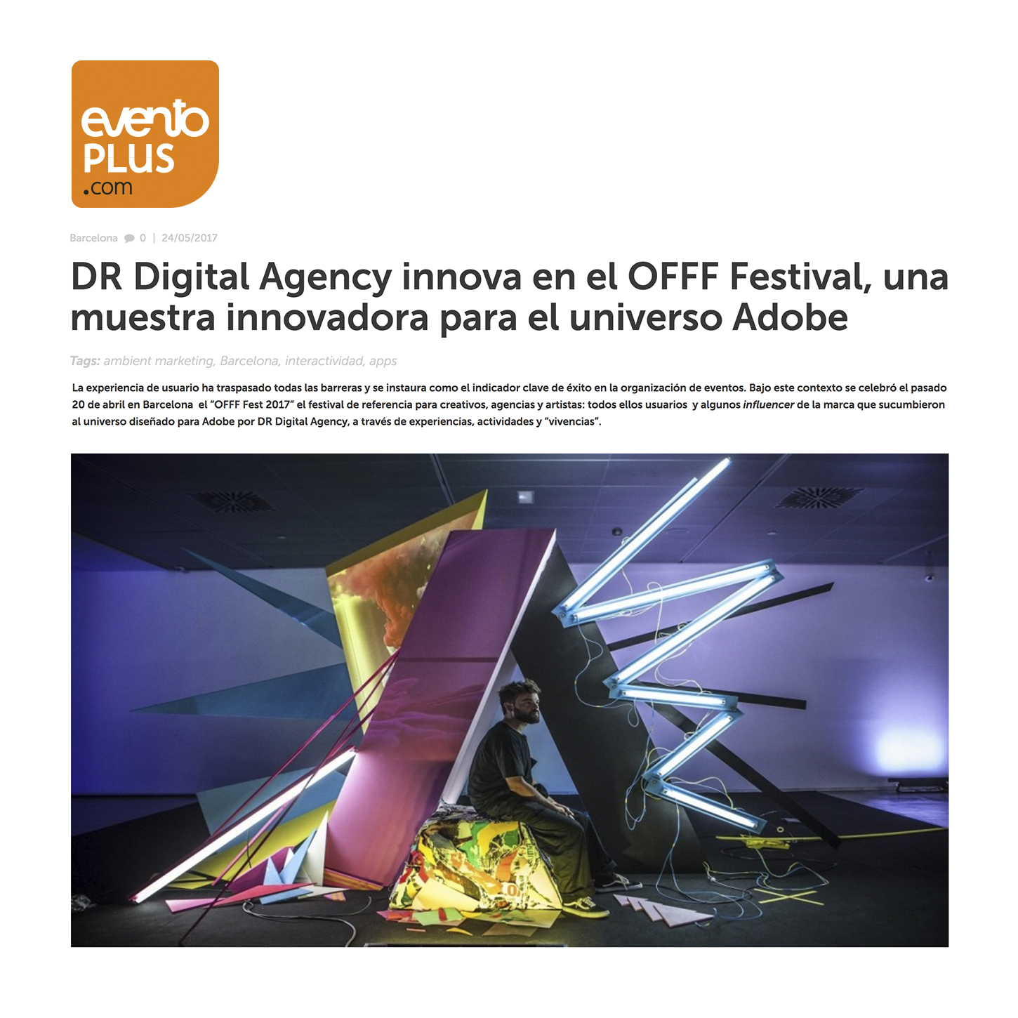 DR innovates at OFFF an innovative sample for the Adobe universe.