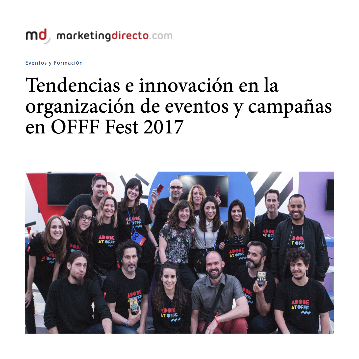 Trends and innovation in the organization of events at offf 2017